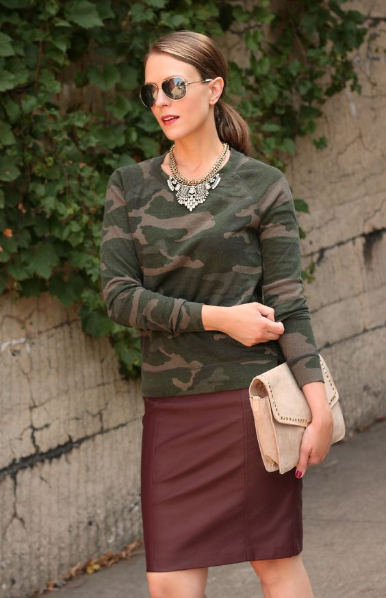 camo sweatshirt   bordeaux leather skirt = need this outfit!! | I ...