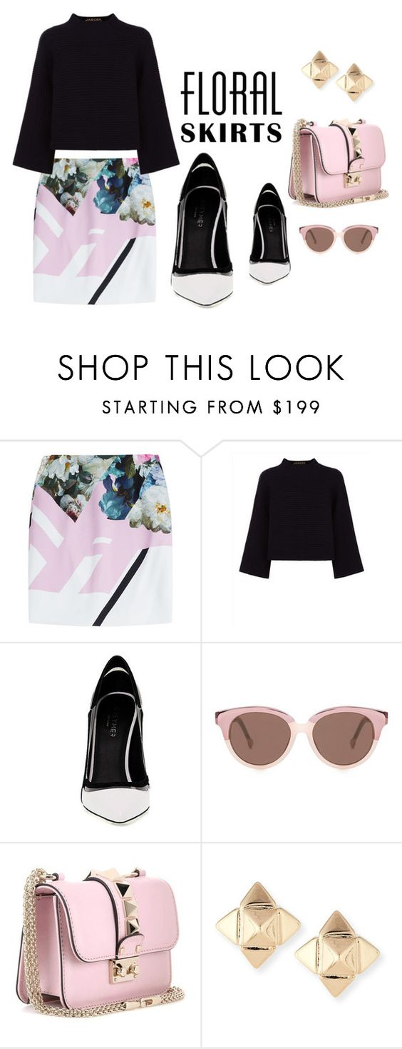 """""""Floral Skirt"""" by ariannapeach ❤ liked on Polyvore featuring Preen, Jaeger, Greymer, Valentino and Floralskirts"""
