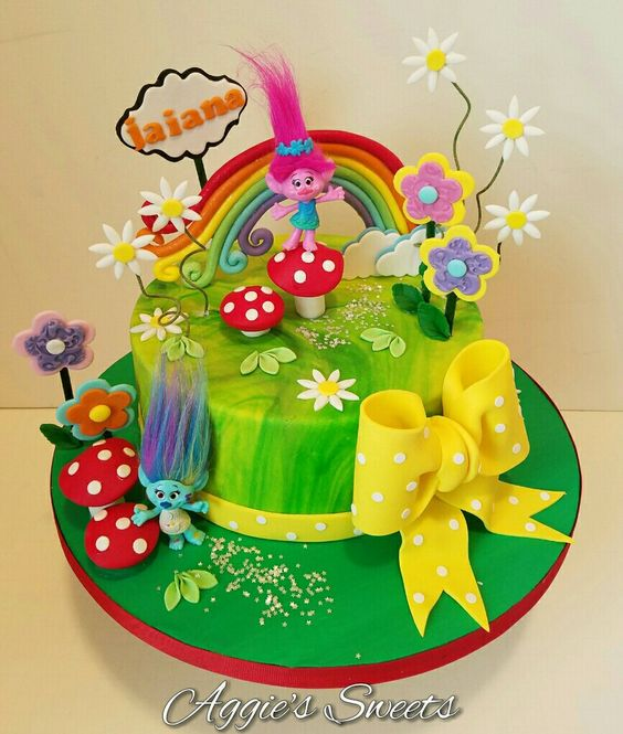 Trolls themed birthday cake: