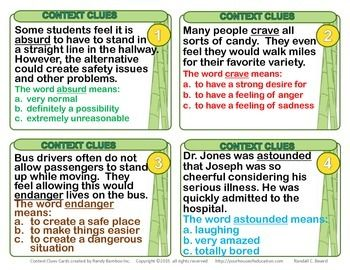 "Free ""Context Clues"" Task Cards for 4th,5th,6th grades."
