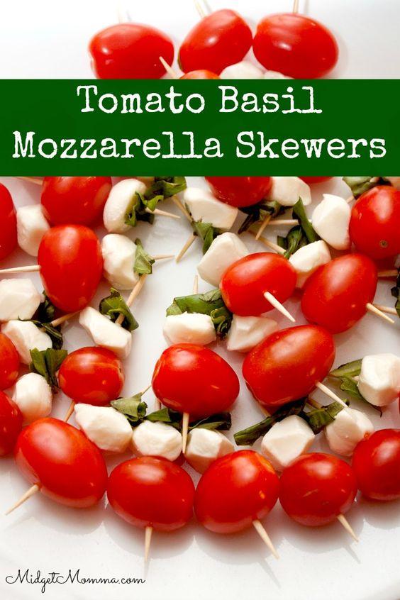 Tomato Basil Mozzarella Skewers | Recipe | Tomato Basil Mozzarella ...