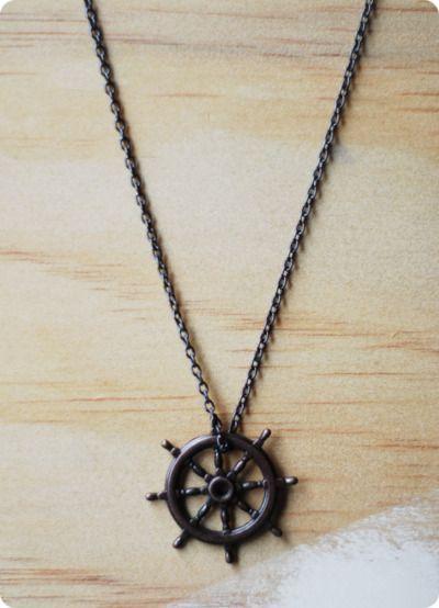 sailor gunmetal chain black ship wheel pendant necklace <3 <3