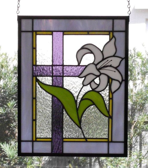 Lily With Cross Stained Gl Panel Window Hanging Leaded Religious Art Easter