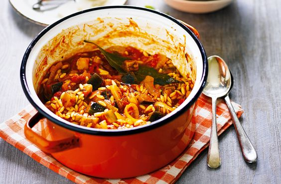 This delicious one-pot dish of aubergine and orzo pasta is perfect for a cosy night in. Find more dinners for one or two at Tesco Real Food.