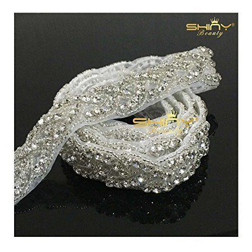 ShinyBeauty Wedding Sash Rhinestone Applique Trim Rhinestone Applique For Wedding Dress RA027