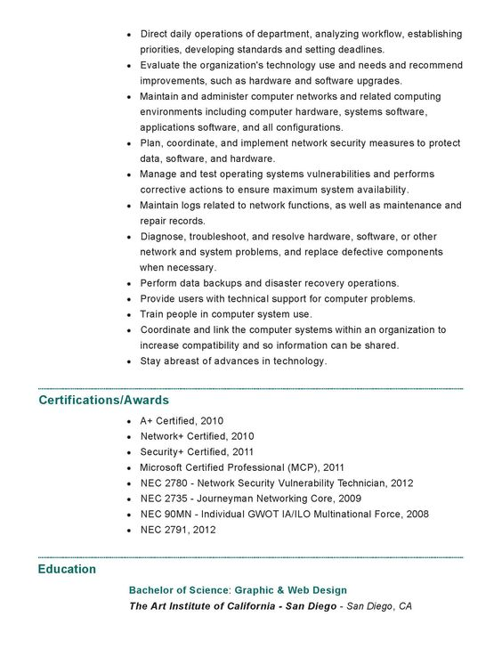 Resume pg1 Nicholas Macias Pinterest - network security resume
