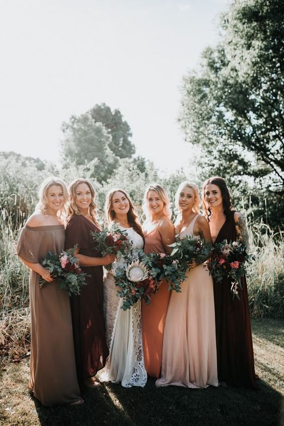 Image Result For Burgundy Boho Bridesmaid Dresses Fall Bridesmaid Dresses Mismatched Bridesmaid Dresses Mismatched Bridesmaids