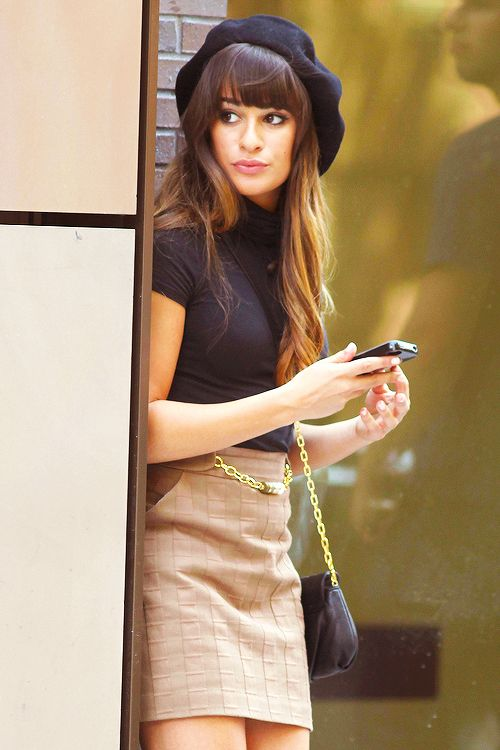 Lea Michelle in Glee looking chic... This is great! I need to try with my new hair!