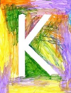 Make a letter or word with masking tape and have the child color.  Take the masking tape off and leave the white letter.
