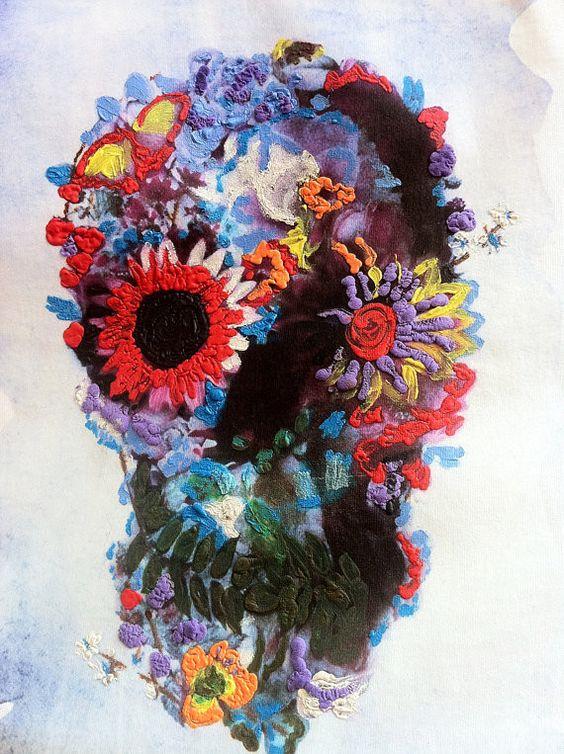 Skull Tshirt, Calavera Mexicana, Painted 3d, Skeleton t-shirt Dia De Los Muertos Wearable ART,