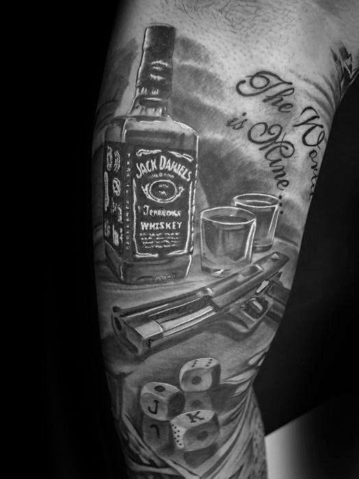 60 Jack Daniels Tattoo Designs For Men Whiskey Ink Ideas 60 Jack Daniels Tattoo Designs For Men In 2020 Jack Daniels Tattoo Bottle Tattoo Daniel Tattoo