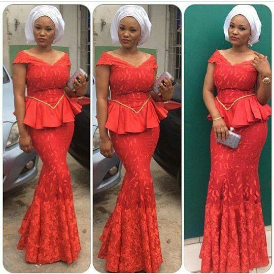 Aso Ebi Styles : Red Combinations - http://www.dezangozone.com/2015/10/aso-ebi-styles-red-combinations.html DeZango Fashion Zone: