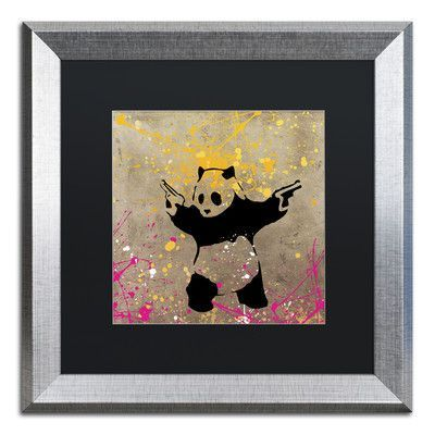 """Trademark Art """"Panda with Guns"""" by Banksy Framed Graphic Art Size: 1"""