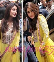 Buy Kareena kapoor in yellow designer anarkali at heroine music bollywood-salwar-kameez-online online