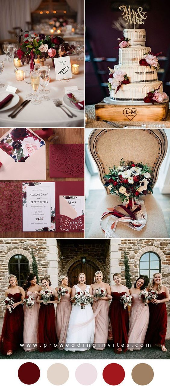 Burgundy is a deep, rich color that is perfect for a fall or winter wedding.Combine blush tones with other colors and you'll still have a soft, romantic theme.