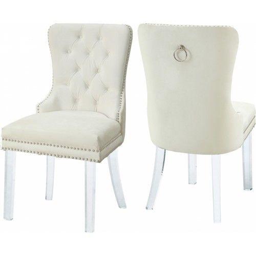 Acrylic Leg Cream Velvet Tufted Dining Chair Set Of 2 Tufted