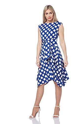Roman Originals Women/'s Polka Dot Tie Front Dress