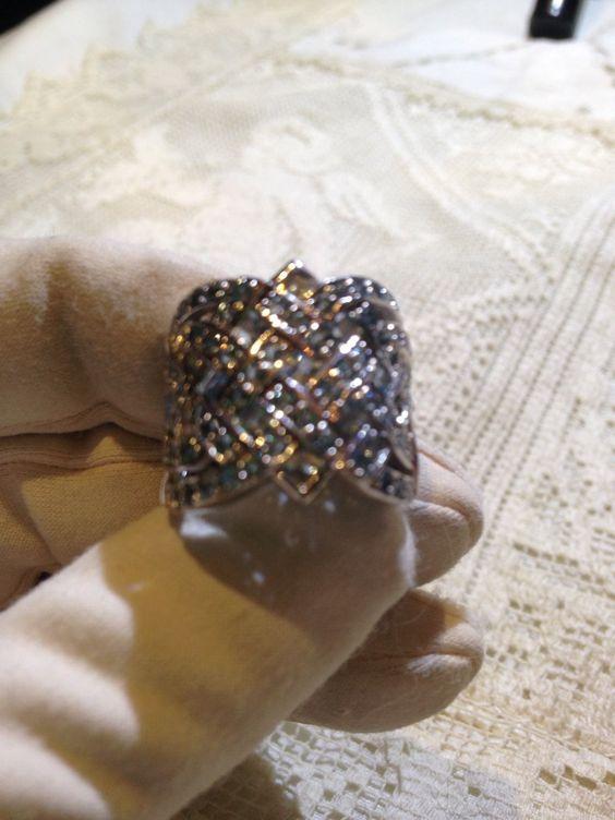 Nemesis Antique Genuine Blue Topaz Vintage 925 Sterling Silver Filigree Ring