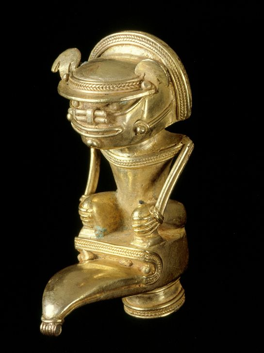 Anthropomorphic bat-man staff finial, AD 900-1600, Tairona, gold alloy (exh. cat. p. 157). © Museo del Oro – Banco de la República, Colombia...