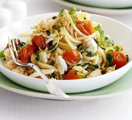 Spaghetti with crab, cherry tomatoes & basil recipe - Recipes - BBC Good Food - just made it - delicious