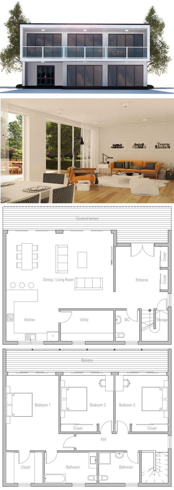 Plan de Maison  dom  Pinterest  Moderne Home Pläne, Moderne ... size: 564 x 1585 post ID: 1 File size: 0 B