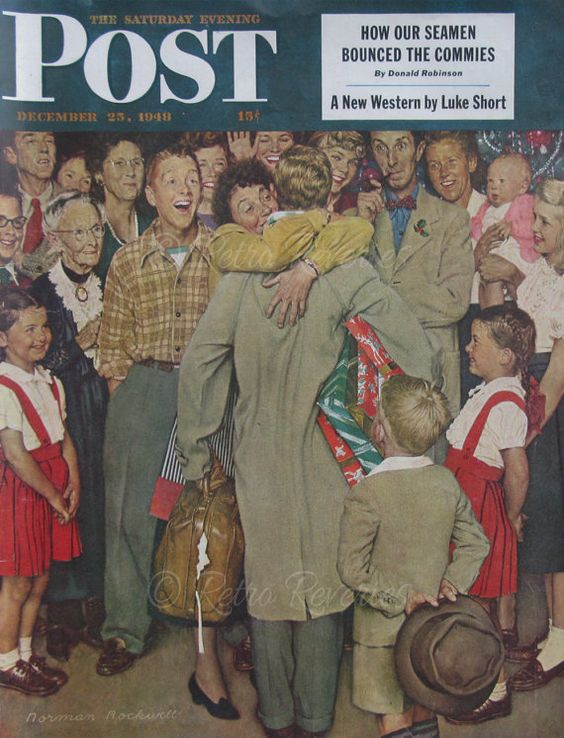 Saturday Evening Post December, 1948 - Home for Christmas - Norman Rockwell Illustration
