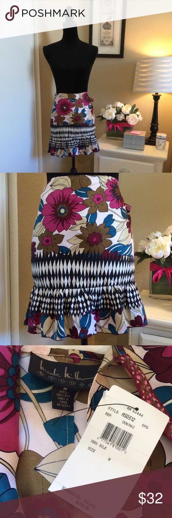 Nicole Miller Studio 100% Silk Wrap Skirt Brand New With Tags    Suggested Retail Price: $200  From the Nicole Miller Studio Line   100% Silk   Wrap Style   Slight ruffle along hemline adds an extra feminine touch. 🎀 Nicole Miller Skirts