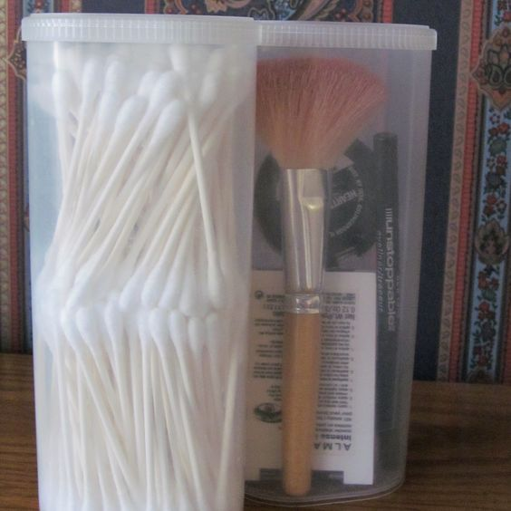 Crystal Lite containers are very handy - double decker Qtip holder and ...