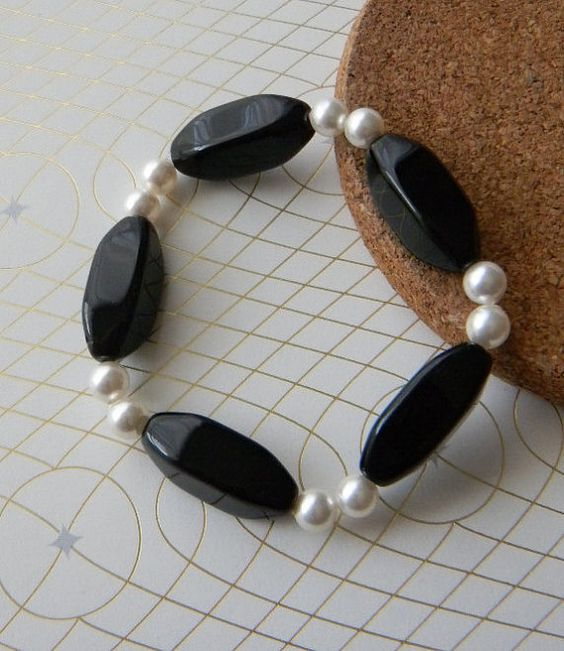 Black and white bracelet by JulieEllisDesigns