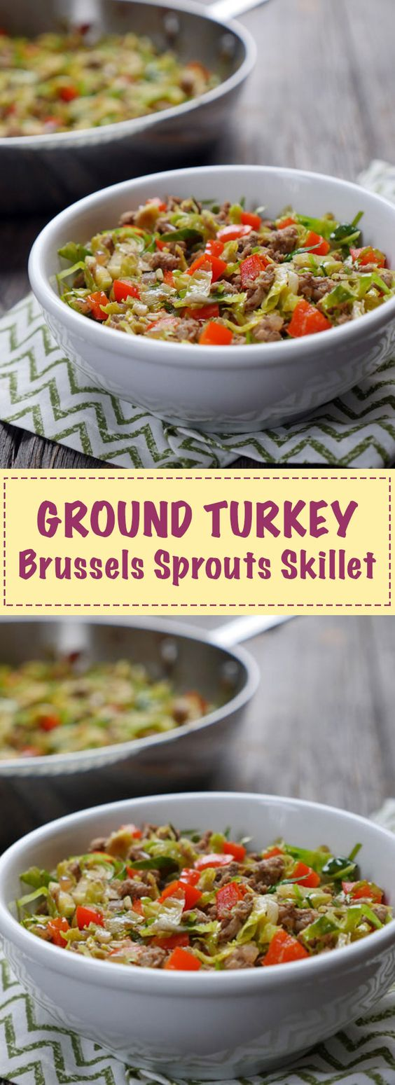 Ground turkey brussels sprouts skillet recipe brussels for Chicken and brussel sprouts skillet