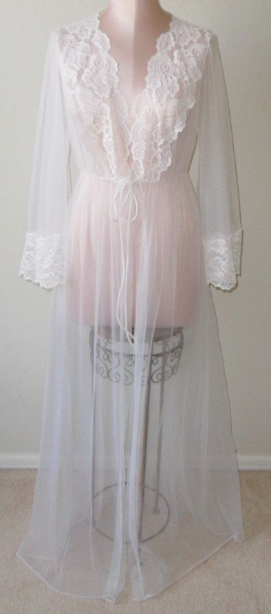 Vintage Sheer Robe Dressing Gown White by desertgraceboutique