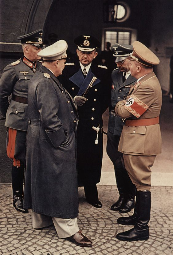 Five war criminals chatting: Wilhelm Keitel, Hermann Göring, Karl Dönitz, Heinrich Himmler and Martin Bormann in conversation at a train station near the Obersalzberg.