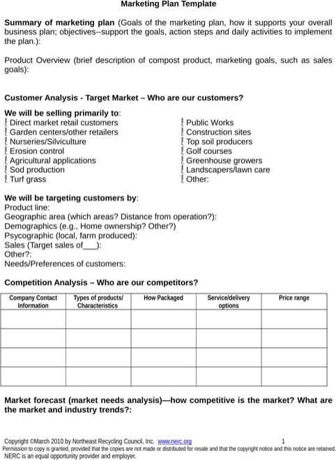 Marketing Plan Format  Marketing Plan Template