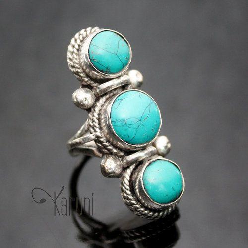 bijoux ethniques indiens npal bague turquoise npalais plaqu argent longue asmita 03