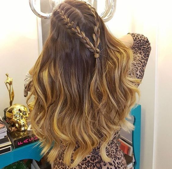 Half up french braid with loose curls