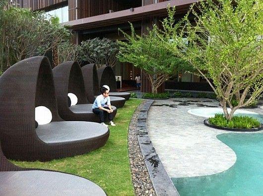 This cozy landscape idea is a part of the Hilton Hotel Thailand