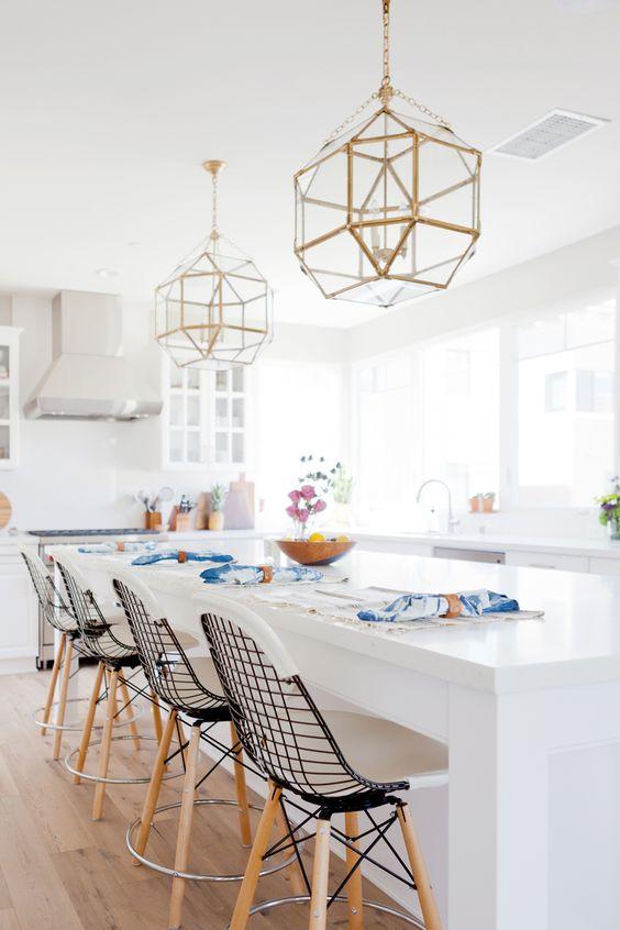 new traditional kitchen, brass lanterns, circa lighting, morris pendant, bikini stools, brushed brass: