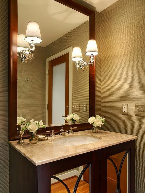. Low Cost Bathroom Updates   The mirror  Textured walls and Vanities