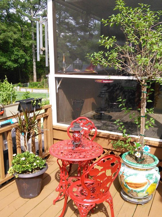 Bistro table on outside deck