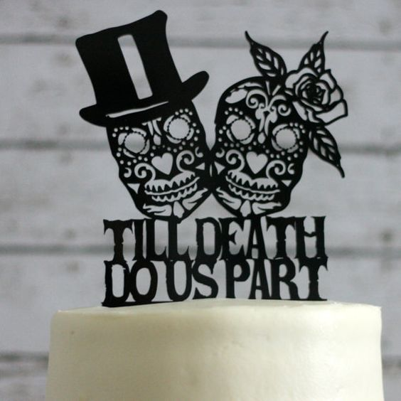 Day of the Dead / Goth Wedding Cake Topper by Silhouetteweddings