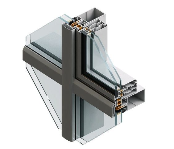 Stick system curtain wall / aluminum and glass - 60 K - FEAL ...