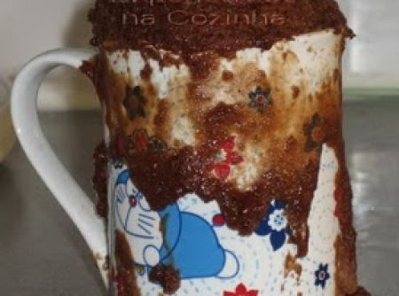 Receita de bolo de chocolate na caneca - bolo ou deixe na propria caneca, regue com a calda ainda quente e sirva em seguida. Essa gostosura também vai bem com sorvete, coberturas,...