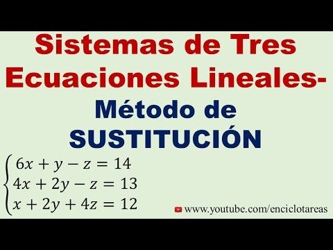 Sistema De Tres Ecuaciones Lineales Con Tres Incógnitas Método De Sustitución Youtube Ecuaciones Matematicas Faciles Matematicas