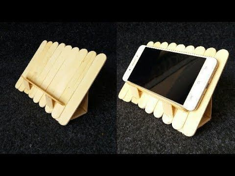 DIY: How to make tablet/smart phone holder using popsicle sticks - YouTube - #DIY #holder #phone #popsicle #sticks #tabletsmart #YouTube