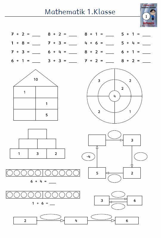 Kostenloses Arbeitsblatt 1klasse Mathematik Addition
