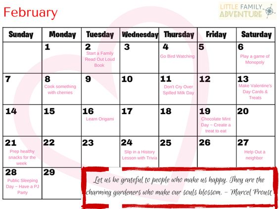 Create Your Own Family Adventure with the February Printable