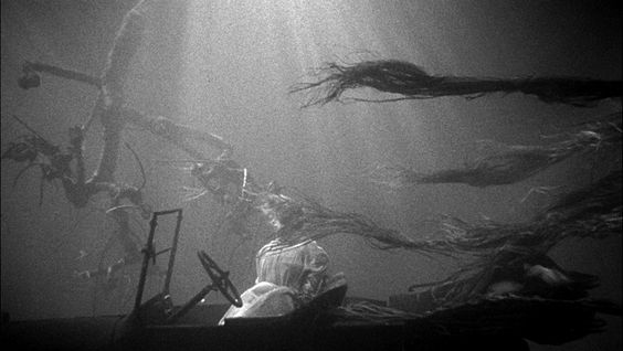 An eerie scene with Shelley Winters from Night of the Hunter (1955), the only film directed by actor Charles Laughton