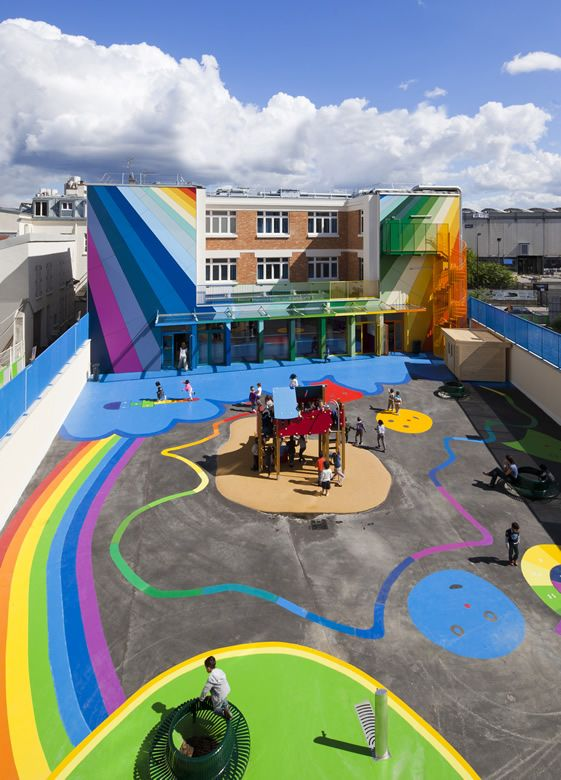 Palatre & Leclere Architectes were brought in to transform a rundown pre-school in Paris's 18th arrondissement, and transform it they did; swathes of rainbow colours wash through the building, from its exterior and into the classrooms, whilst playground games are seamlessly integrated into the bold public art of its façade.