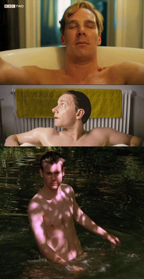 Bathing Beauties: Benedict Cumberbatch, Martin Freeman, and Rupert Graves wet and naked. You're welcome.
