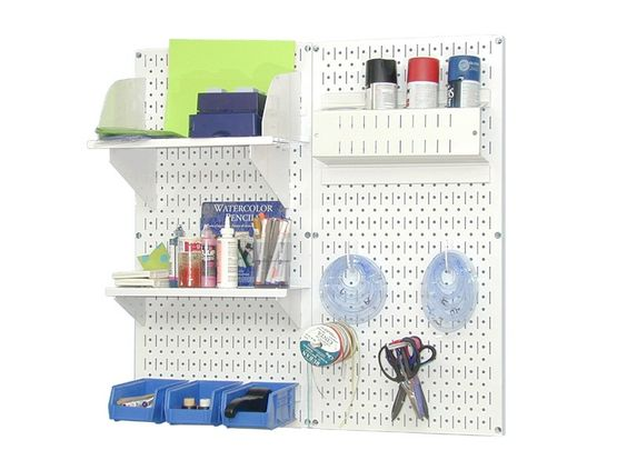 """Craft Center Pegboard Organizer Kit & DIY Tool Board Storage & Organization Unit - Craft Center Pegboard Organizer Kit & DIY Tool Board Storage & Organization Unit works great to organize and de-clutter crafting areas and DIY work spaces. The attractive colored metal pegboard tool boards are strong and durable and accept conventional 1/4 """" pegboard pegs as well as Wall Control slotted tool board hooks and accessories."""